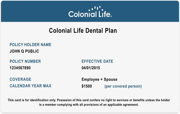 Colonial Life dental fee schedule card